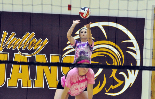 Horace Langford Jr. / Pahrump Valley Times - PVHS Volleyball vs Mojave, #20 Maddie Hansen Isabell Meza.