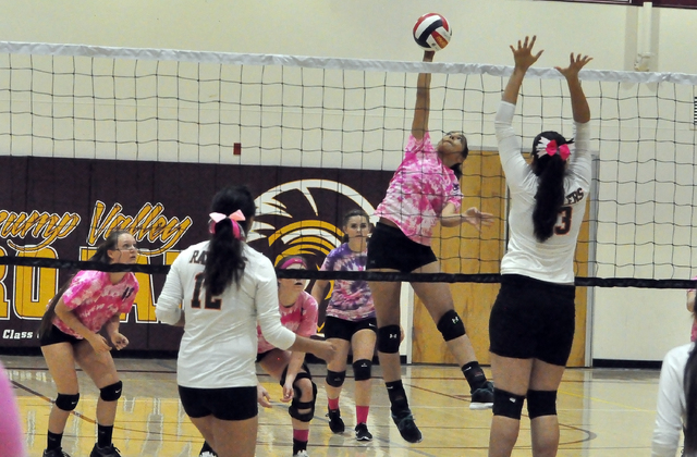 Horace Langford Jr. / Pahrump Valley Times  Isabell Meza goes for the ball against Mojave. The Trojans won against Mojave in five sets. It was the first time this year that they had to go to five  ...