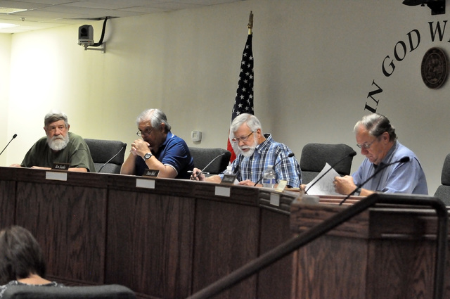 Horace Langford Jr. / Pahrump Valley Times  Nye County Water District Governing Board members, from left, Jack Freeland, Ken Searles, Dave Hall and Dennis Gaddy attend a meeting on Monday, Sept. 2 ...