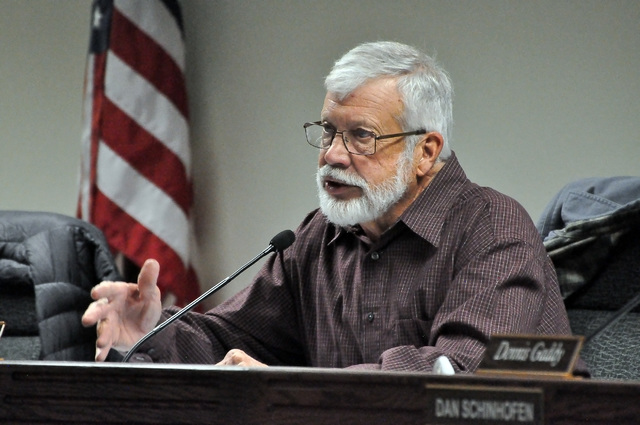 Dave Hall, chairman of the Nye County Water District Governing Board, presides over the meeting on Monday, Dec. 12. Nye County geoscientist John Klenke presented the dry well study to the board. H ...