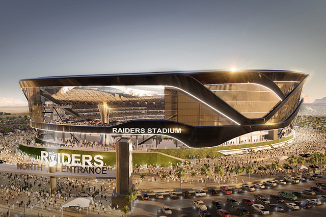 Gov. Brian Sandoval signed Senate Bill 1, which appropriates $750 million in a lodging tax toward a potential $1.9 billion, 65,000-seat domed NFL stadium in Las Vegas.   Courtesy of MANICA Archite ...