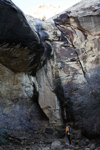 Deborah Wall / Special to the Pahrump Valley Times  A hiker stands below the seasonal Lost Creek Falls, found by taking a short spur trail off the Lost Creek Children's Discovery Trail in Red Ro ...