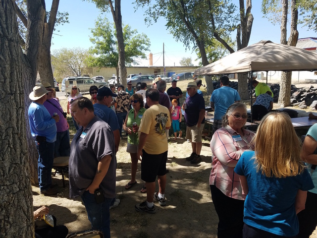 A crowd estimated at nearly 200 is shown Aug. 27 at the 40th Annual Tonopah Reunion Picnic at at Jim Butler Park. People with ties to Tonopah came from as far away as Florida and Pennsylvania to a ...