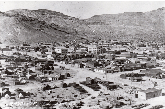 A view of Rhyolite in 1908, the same year 20-year-old Mona Bell was murdered in the town's red-light district. Bell, whose real name was Sarah 'Sadie' Isabelle Peterman, was a prostitute, da ...