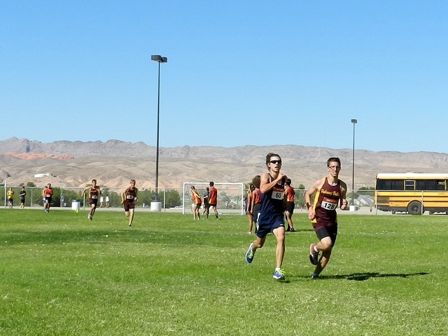 Special to the Pahrump Valley Times Senior Stephen Thelaner kicks it in at the Moapa Valley Invitational on Sept. 17.