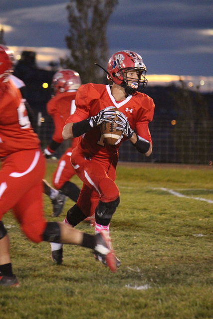 Penny Otteson / Special to the Pahrump Valley Times Senior quarterback for the Muckers, Tanner Otteson has awesome numbers this year, throwing for over 600 yards in five games. Could this year be  ...