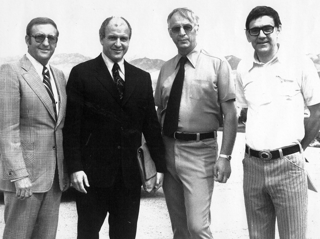 Pahrump Valley Times founder Milton (Milt) Bozanic, on right, at the September 1974 opening of Pahrump Valley High School. Bozanic had founded the newspaper less than four years earlier. He is pic ...
