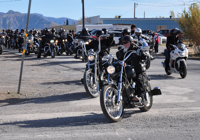 Members of the Tribe Motorcycle Club hit the streets to deliver toys two years ago. The group will again be delivering gifts to area children for the 20th year on Sunday. Special to the PahrumpVal ...