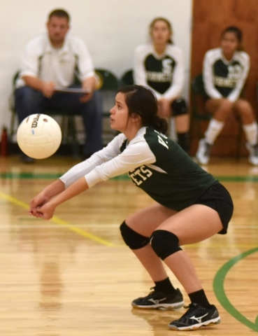 Richard Stephens / Pahrump Valley Times  Vanessa Gamboa gives the ball a bump against Green Valley Christian on Tuesday.  Gamboa excelled in serving with 9 aces against GVC.