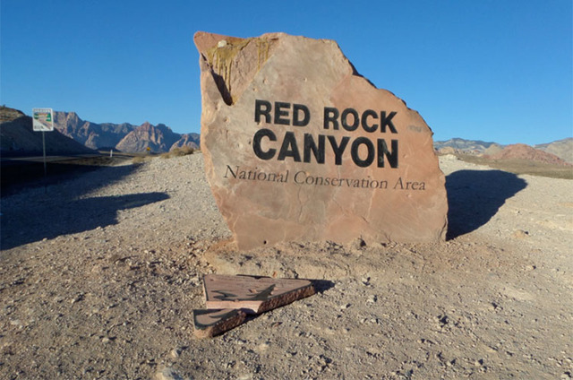 The Bureau of Land Management is offering a $1,000 reward to anyone who provides information that leads to the arrest and/or conviction of those responsible for damaging the Red Rock sign on Highw ...