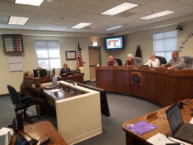 David Jacobs/Pahrump Valley Times  Nye County Sheriff Sharon Wehrly presented the Nye County Sheriff Office 2015 Audit Report to Nye County Commissioners on Tuesday in Tonopah.