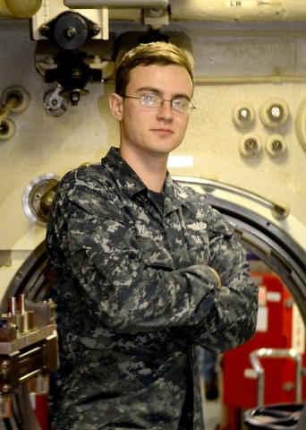 Petty Officer 3rd Class Andrew White is a machinist's mate serving aboard the Bangor-based boat, one of 14 Ohio-class ballistic missile submarines.  Special to the Pahrump Valley Times
