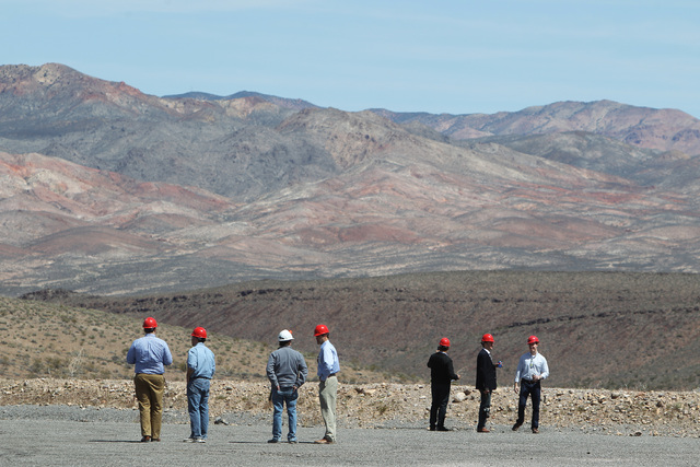 Congressional staff members take in the view during a congressional tour of the Yucca Mountain exploratory tunnel Thursday, April 9, 2015. Sam Morris/Special to the Pahrump Valley Times