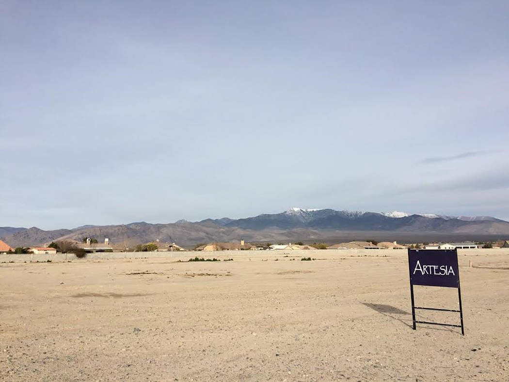 Robin Hebrock/Pahrump Valley Times Those living in the Artesia housing subdivision may have a new shopping destination in coming years. The land shown is slated for a commercial subdivision that c ...