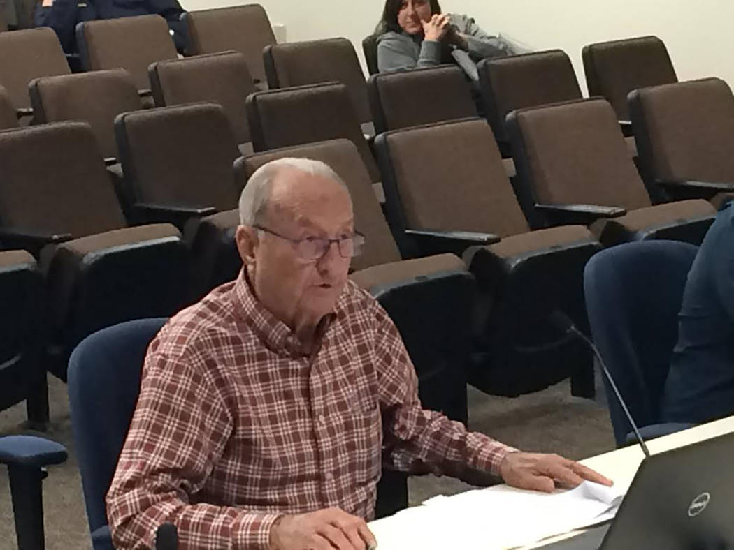Robin Hebrock/Pahrump Valley Times Pahrump developer Tim Hafen, representing HHH Investments LLC, went before the Nye County Commission on Jan. 16 to request approval of two tentative commercial s ...