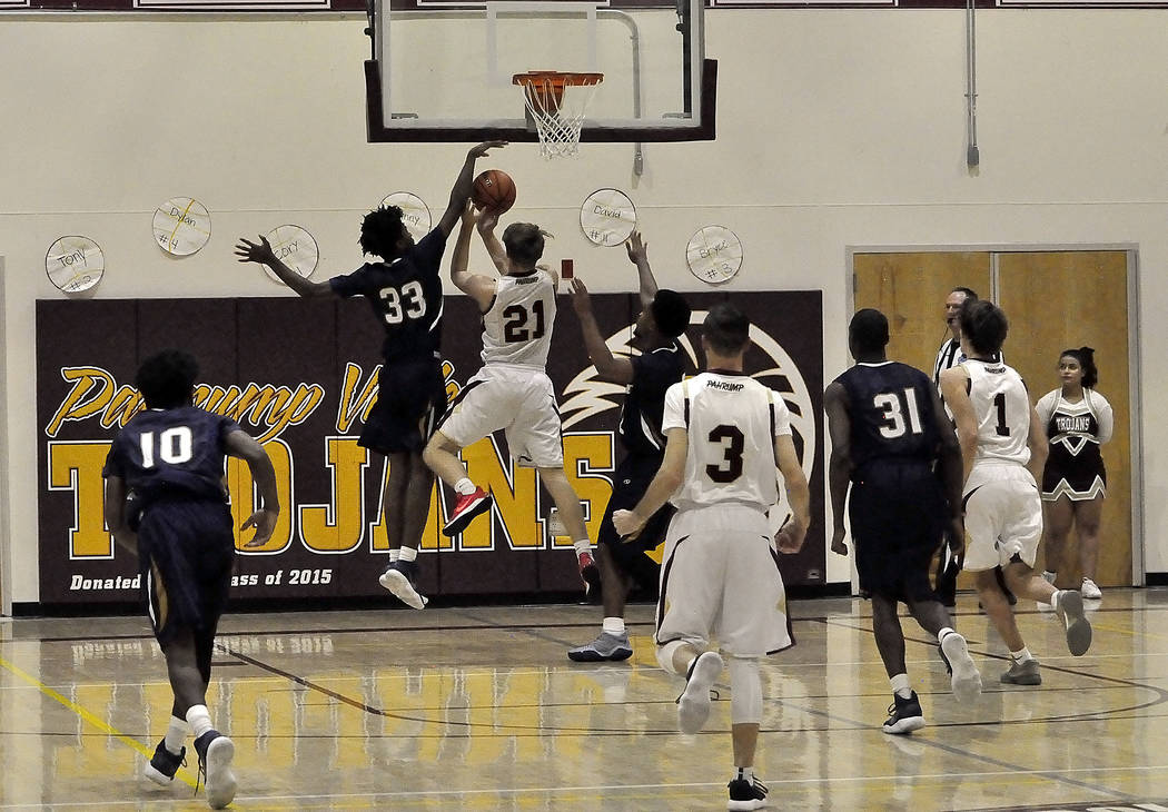 Horace Langford Jr./Pahrump Valley Times  Pahrump Valley's Brayden Severt is shown in action in a Jan. 19 game against Cheyenne. Both the boys and girls teams at Pahrump Valley play at home on Fri ...