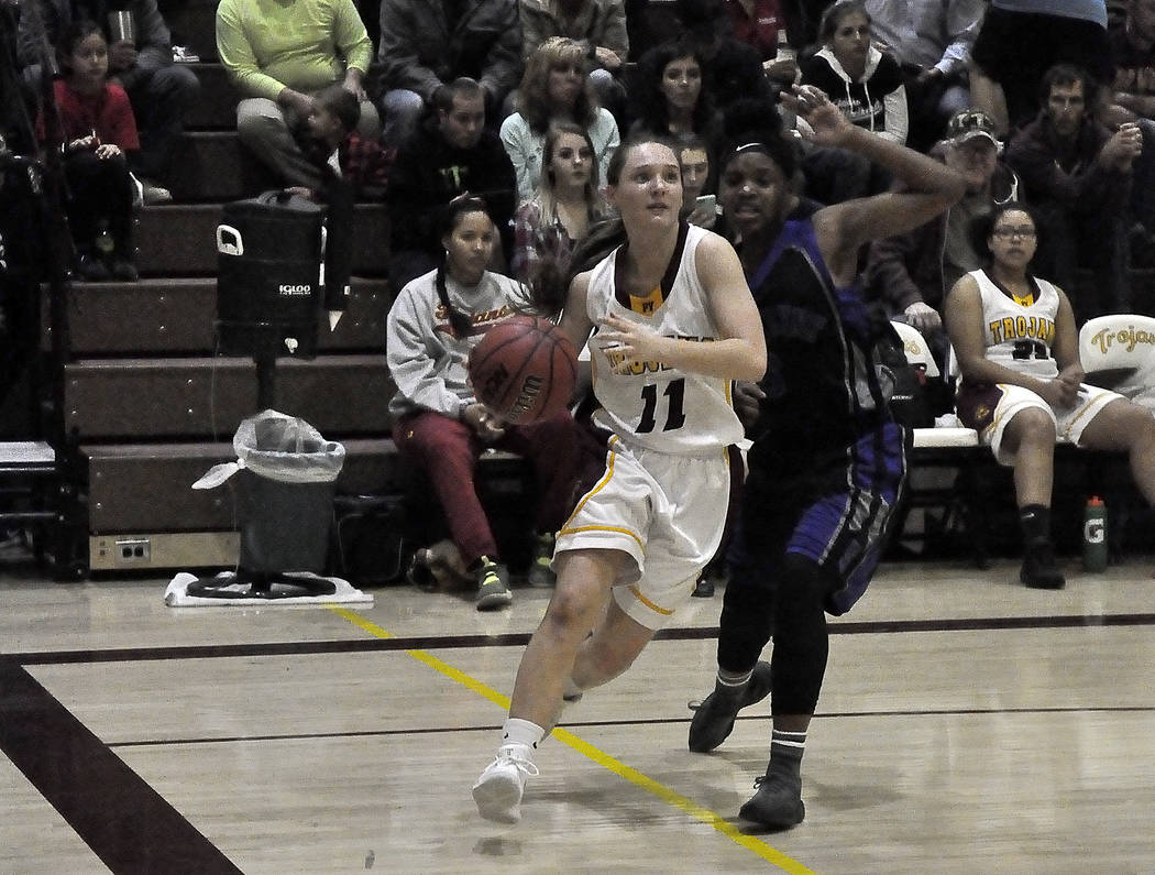 Horace Langford Jr./Pahrump Valley Times Jackie Stobbe of Pahrump Valley High School is shown with the ball in a Jan. 19 game against Cheyenne. Entering this week, Pahrump Valley's record stood at ...