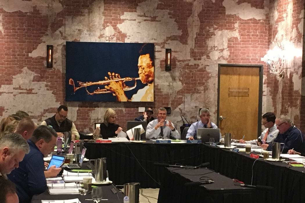 The NIAA Board of Control voted Thursday to approve the principals' proposal and eliminated the 5A classification at the Whitney Peak Hotel in Reno, Jan. 18, 2017. Justin Emerson/Las Vegas Review- ...