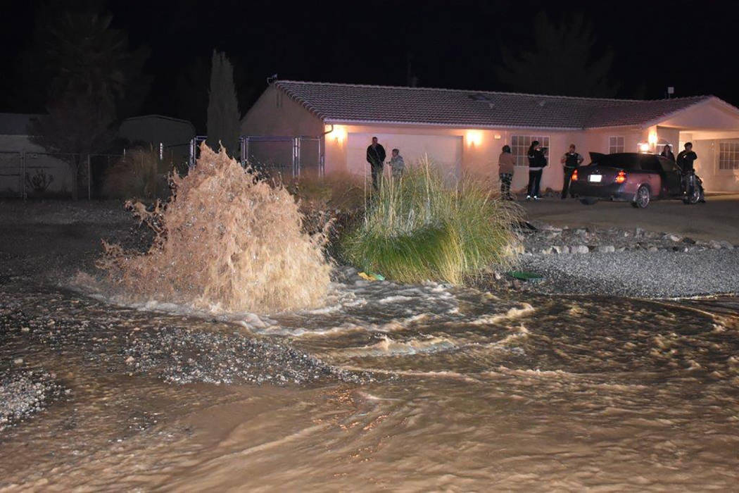 Special to the Pahrump Valley Times An estimated 135,000 to 150,000 gallons of water inundated a neighborhood on the 900 block of East Mount Charleston Drive after a car plowed into a fire hydrant ...