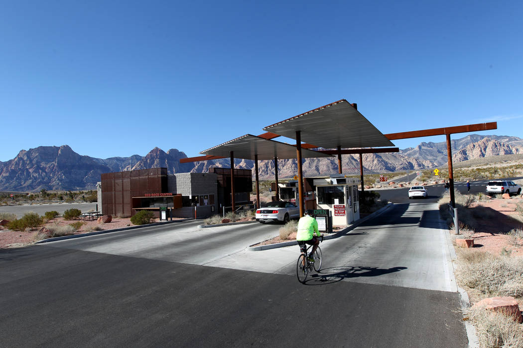 K.M. Cannon/Special to the Pahrump Valley Times The fee booths at Red Rock Canyon National Conservation Area scenic loop were closed Monday, Jan. 22, 2018. While the gates were open, the fee booth ...