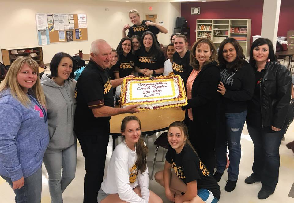 Glenda Stiles/Special to the Pahrump Valley Times Coach Bob Hopkins celebrates after his 500th win on Jan. 8, 2018 for girls basketball. Hopkins began his career in 1978 in Bennett County in South ...