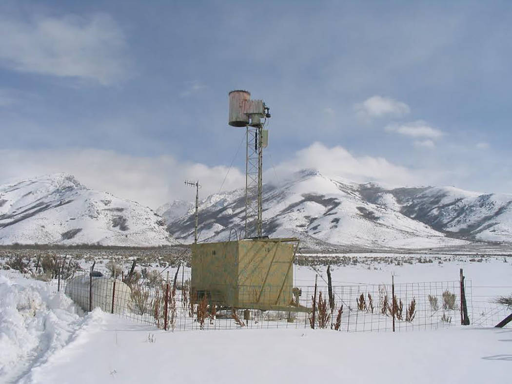 Special to the Pahrump Valley Times DRI provided this photo of a ground-based cloud seeding generator as seen in a remote location in eastern Nevada. These temporary stations are installed in remo ...