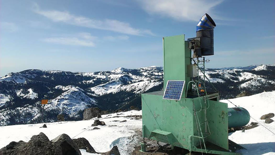 Special to the Pahrump Valley Times Another DRI photo shows the Sierra station. The ground-based cloud seeding stations help produce additional snowpack in the Sierra Nevada mountains and can be o ...