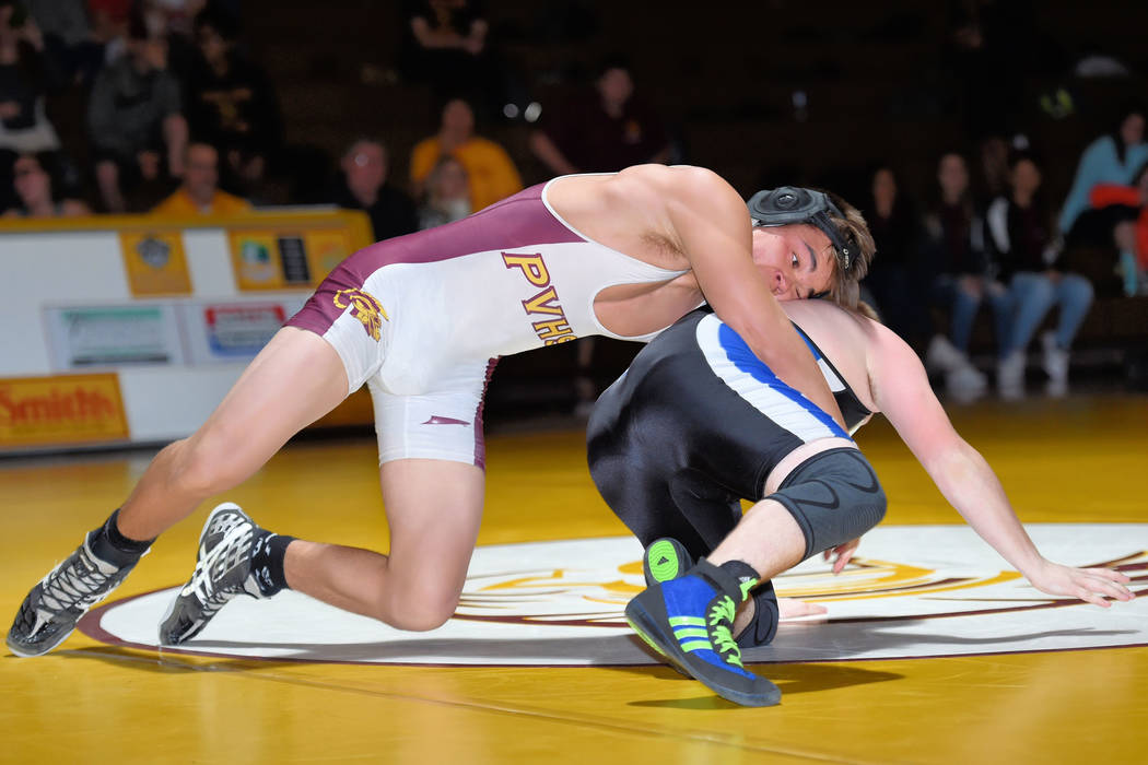 Peter Davis/Special to the Pahrump Valley Times Pahrump Valley's Braylan Durazo, at 160 pounds, is shown wrestling a Desert Pines opponent earlier this month in Pahrump. The wrestling team at Pahr ...