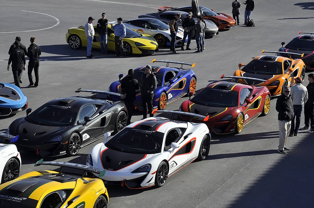 Horace Langford Jr./Pahrump Valley Times  Several specially designed supercars from U.K.-based McLaren were delivered on Jan. 26, 2018 to 10 customers at Pahrump's Spring Mountain Motor Resort and ...