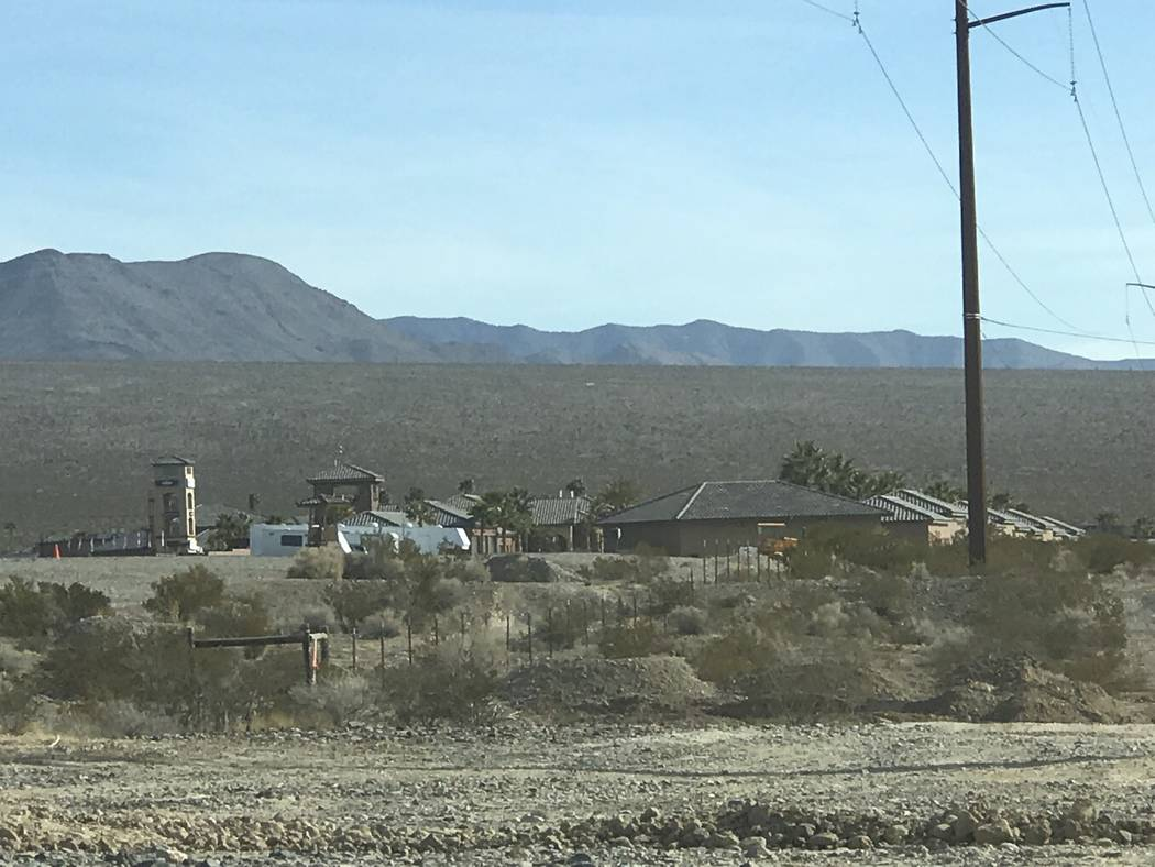 Jeffrey Meehan/Pahrump Valley Times Infrastructure water at the Spring Mountain Motor Resort and Country Club is coming to completion, including two 550,000-gallon water storage tanks and water li ...