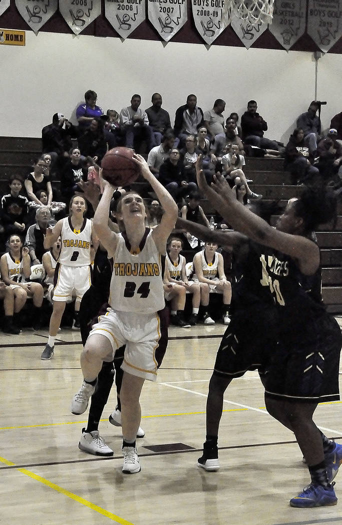 Horace Langford Jr./Pahrump Valley Times  Savannah Fairbank of Pahrump Valley prepares to shoot the ball against Sunrise Mountain on Jan. 26 in Pahrump. She and her team play in Pahrump this comin ...