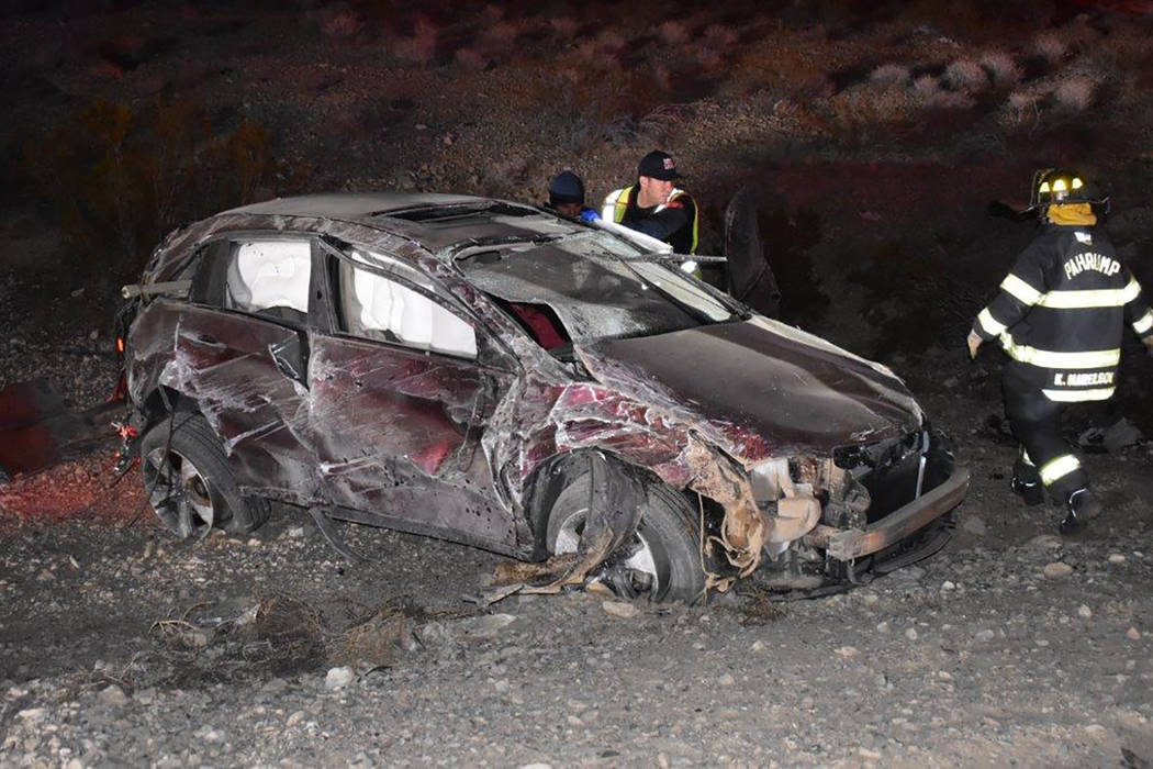Special to the Pahrump Valley Times One person was flown to UMC Trauma following a single-vehicle rollover crash along Highway 160 in Clark County on Wednesday evening, Jan. 24. Fire crews were fo ...