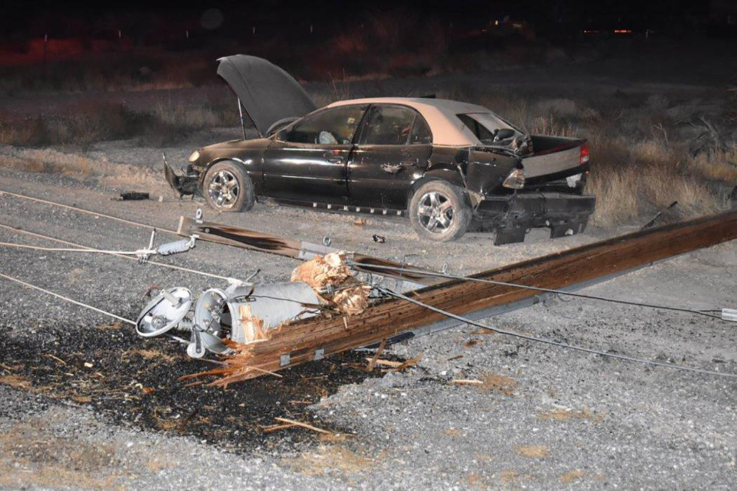 Special to the Pahrump Valley Times Mercy Air 21 was summoned to transport the driver who struck a power pole along Highway 372 near Bannavitch Street early Saturday morning. First responders actu ...