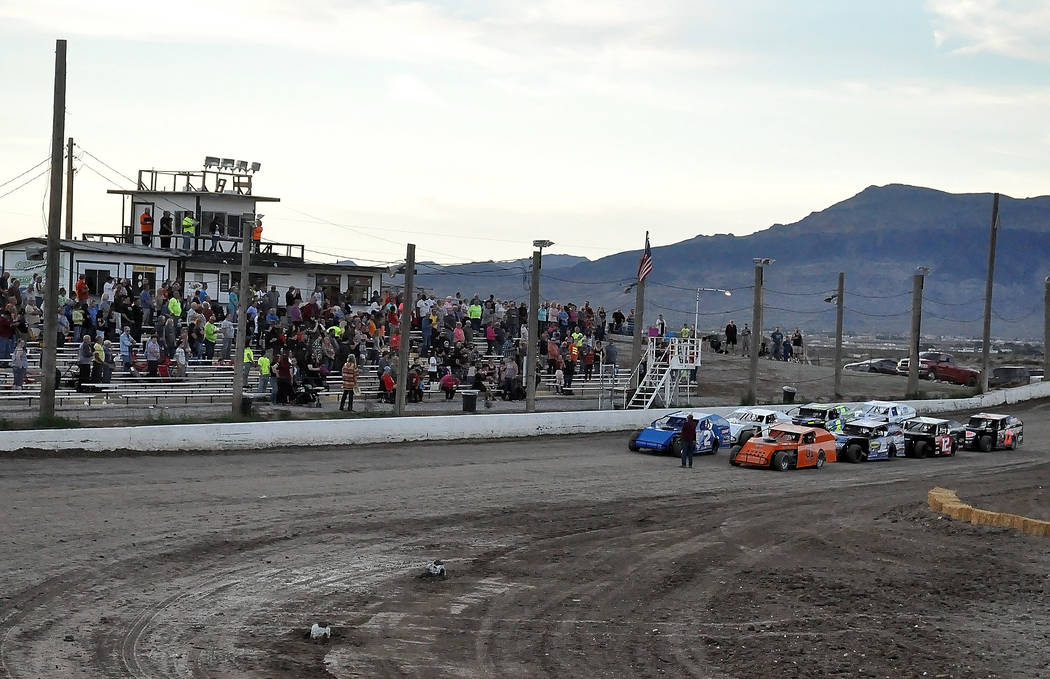 Horace Langford Jr. / Pahrump Valley Times Modifieds lined up at the Pahrump Valley Speedway, waiting to start the races in mid-March. The track had its final race for the season Nov. 18 and has t ...