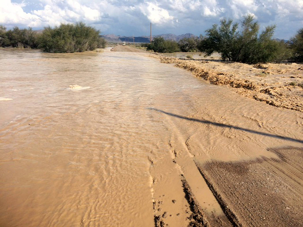 Special to the Pahrump Valley Times The photo depicts flooding on the road in October 2015. That flood eroded the embankment, damaged culverts, washed away surfacing, and damaged 200 feet of the l ...