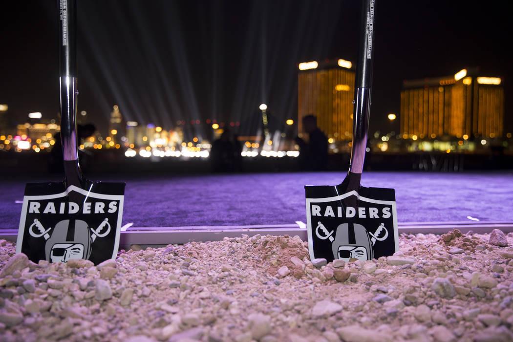 Erik Verduzco/Las Vegas Review-Journal Ceremonial shovels at the site of the future Raiders stadium during the groundbreaking ceremony in Las Vegas, Monday, Nov. 13, 2017.
