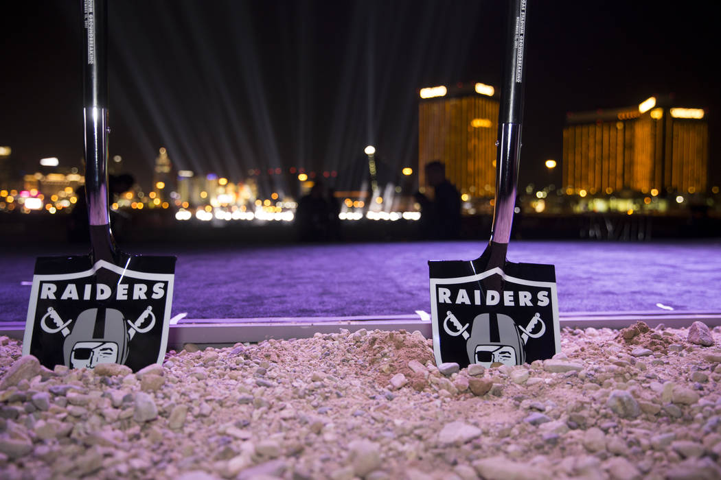 Erik Verduzco/Las Vegas Review-Journal Ceremonial shovels at the site of the future Raiders stadium during the groundbreaking ceremony in Las Vegas, Monday, Nov. 13, 2017.