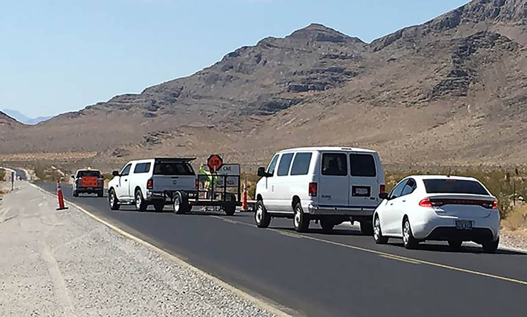 Special to the Pahrump Valley Times Traffic restrictions are needed for painting stop bars and turn arrows, installing signs, and testing painted pavement stripe reflectivity as part of a $8.7 mil ...