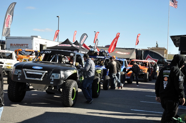 Horace Langford Jr. / Pahrump Valley Times  Pahrump Nugget 250 at the tech inspection in 2016 was like a carnival atmosphere. Fans had an opportunity to talk to drivers as the waited for their veh ...