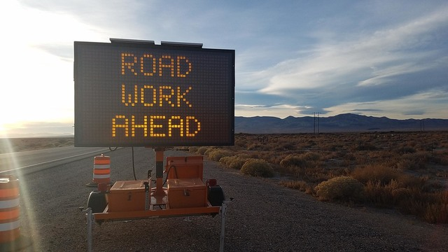 David Jacobs/Pahrump Valley Times Signage in a road construction area in Nye County as shown in a file photo. The Nevada Department of Transportation made an announcement this week involving feder ...