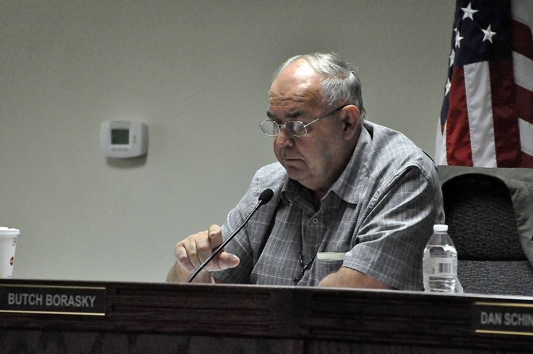 "Horace Langford Jr./Pahrump Valley Times -  At the end of the commissioners' meeting on Nov. 21, Borasky made an announcement that he had ""a gut feeling"" that Dennis Hof, Joe Burdzinski, Nye ..."