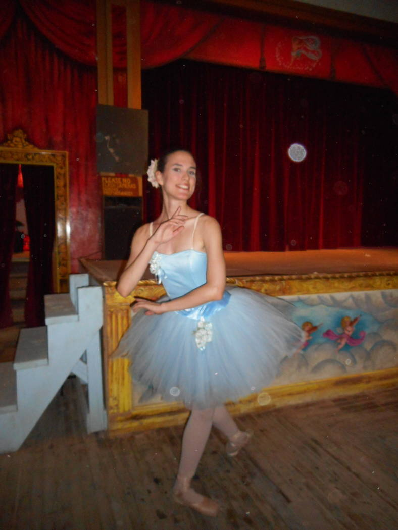 Robin Flinchum/Special to the Pahrump Valley Times Hilda Vazquez is shown at the Amargosa Opera House after a recent show performance. As a classically trained ballerina, she said, she expects to  ...