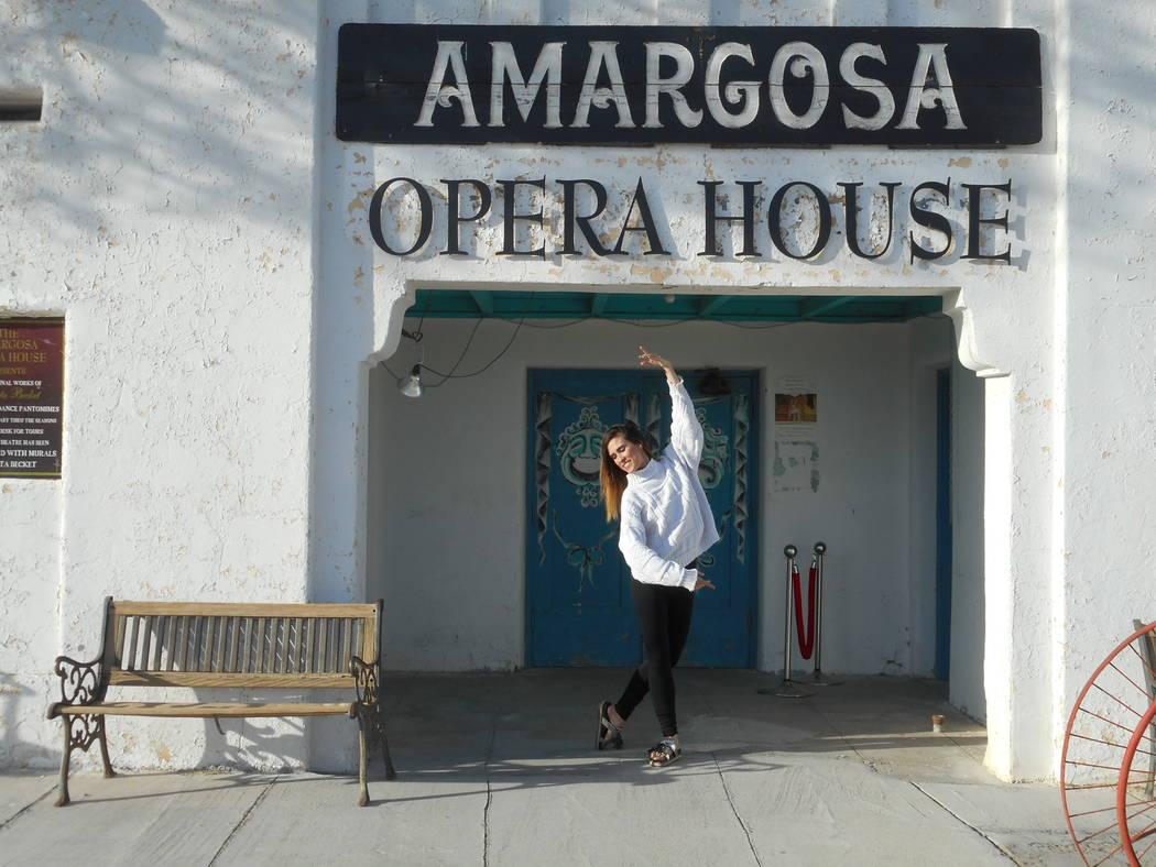 Robin Flinchum/Special to the Pahrump Valley Times Hilda Vazquez is shown in front of the Amargosa Opera House. Vazquez dances every Friday and Saturday at 7 p.m. at the Amargosa Opera House in De ...