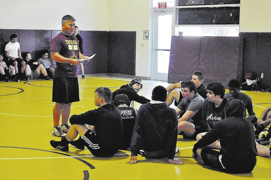 Horace Langford Jr./Pahrump Valley Times -  PVHS Wrestling practice