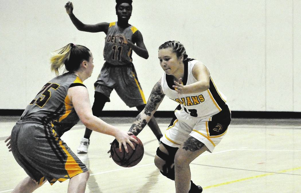 Horace Langford Jr./Pahrump Valley Times Sabin Chaidez of the Pahrump Valley girls basketball team is shown in a Nov. 28 home game against Del Sol. Pahrump Valley started this week holding a 5-0 r ...