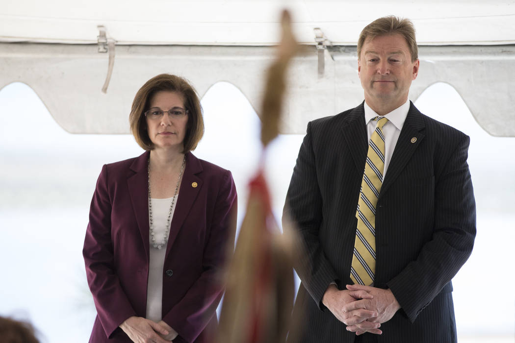 Erik Verduzco/Las Vegas Review-Journal U.S. Sen. Catherine Cortez Masto, D-Nevada, left, and U.S. Sen. Dean Heller, R-Nevada, as shown in a photo from earlier this year. The Senate bill eliminates ...