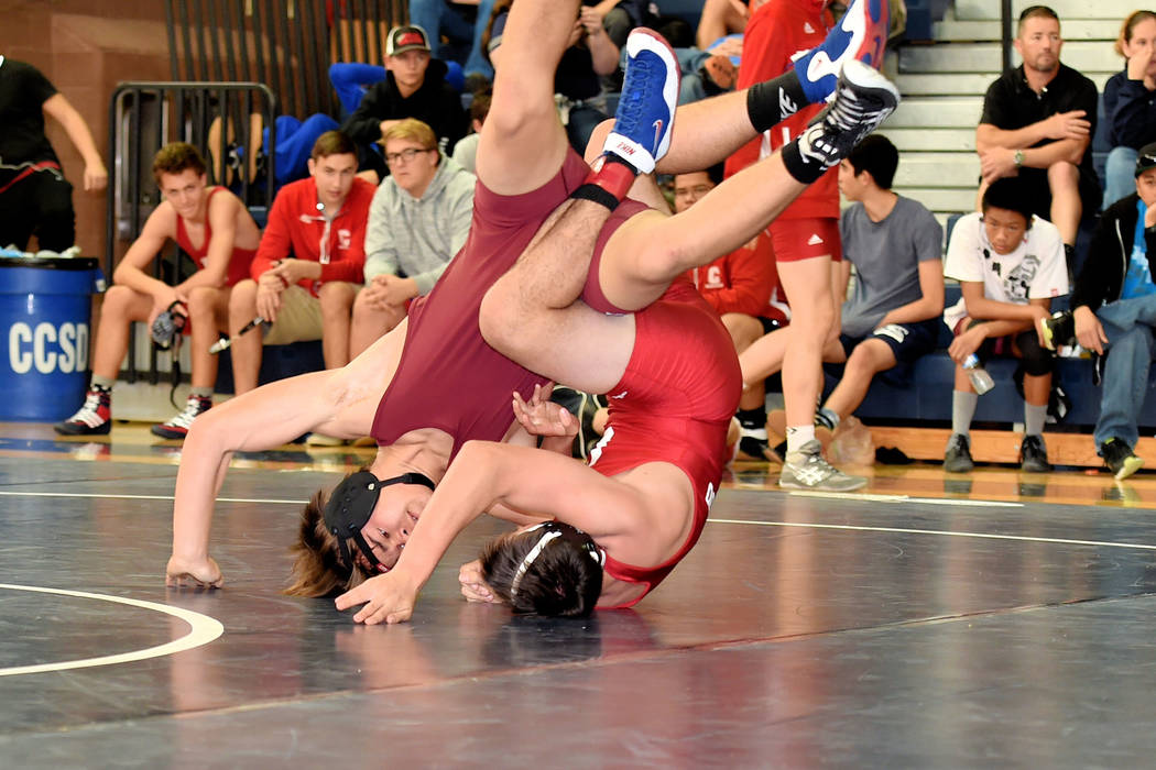 Peter Davis/Special to the Pahrump Valley Times Bray Durazo competes against Coronado at the Boulder City Duals. The event was Dec. 2 with Pahrump Valley earning third place among 12 schools.