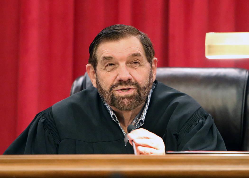 Justice Michael Cherry hears arguments in the new Nevada Supreme Court building on Monday, April 3, 2017, in Las Vegas. (Bizuayehu Tesfaye/Las Vegas Review-Journal) @bizutesfaye
