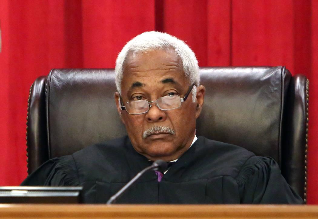 Justice Michael Douglas hears arguments in the new Nevada Supreme Court building on Monday, April 3, 2017, in Las Vegas. (Bizuayehu Tesfaye/Las Vegas Review-Journal) @bizutesfaye