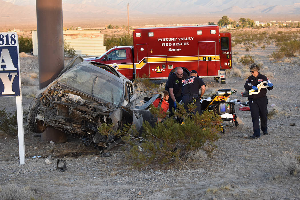 Special to the Pahrump Valley Times Two people were transported via Mercy Air to UMC Trauma in Las Vegas following a single vehicle rollover crash along Highway 160 at Mesquite Avenue on Sunday af ...